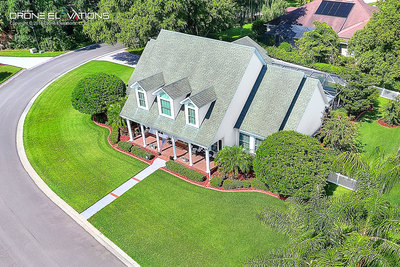 Drone real estate aerial photo of house.