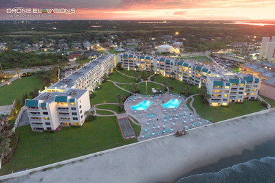 Aerial drone twilight photo of Florida resort.