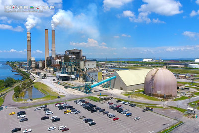 Aerial drone photography of TECO industrial power plant in Tampa, Florida.