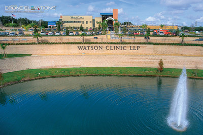 Aerial drone photo of Watson Clinic medical facilities in Lakeland, Florida.